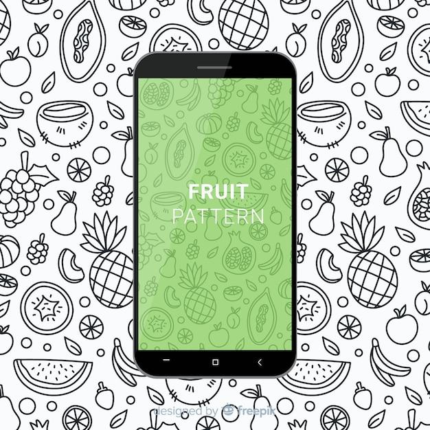 Padrão móvel de fruta desenhada de mão Vetor grátis