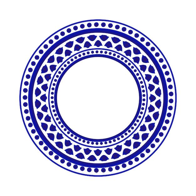 Padrão redondo azul e branco Vetor Premium