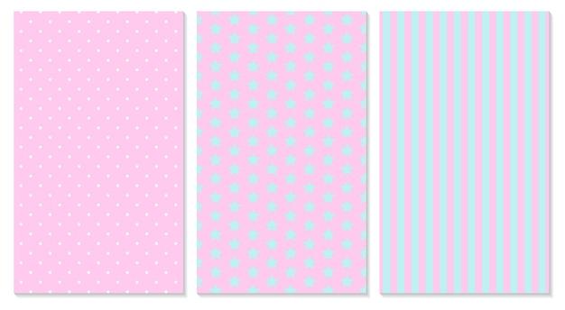 Padrão rosa. bolinhas, listras, padrão de estrelas. Vetor Premium