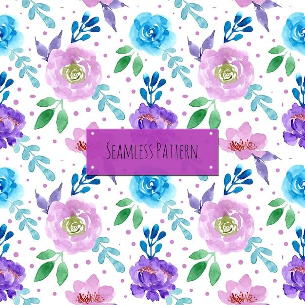 Padrão roxo azul com aquarela floral Vetor Premium