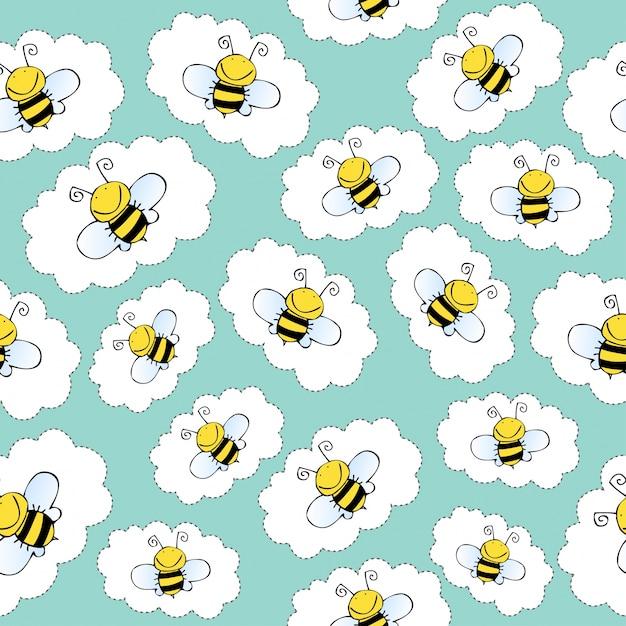 Padrão sem costura com abelhas Vetor grátis