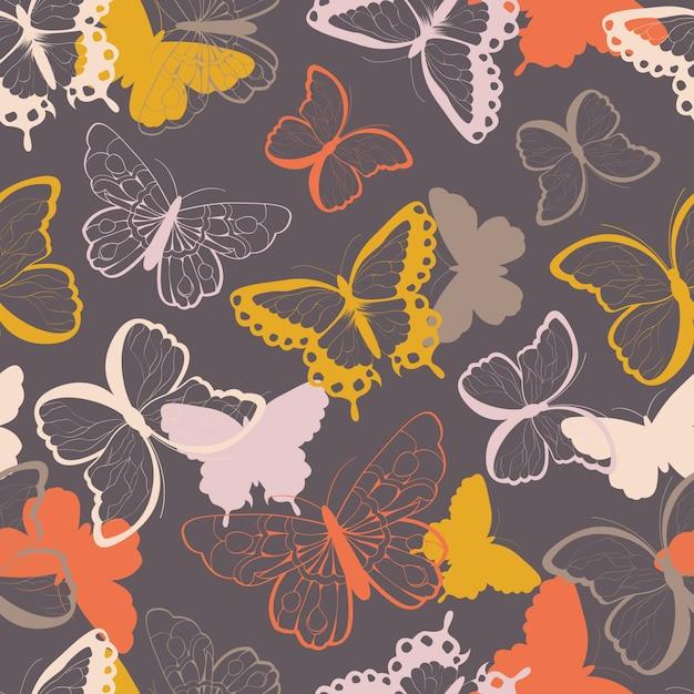 Padrão sem costura com borboletas coloridas desenhadas a mão, silhueta vibrante Vetor Premium