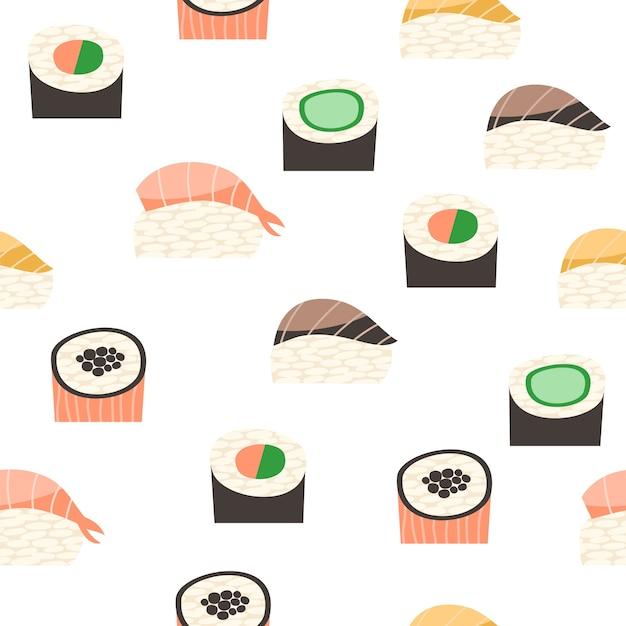 Padrão sem costura com diferentes tipos de sushi. Vetor Premium