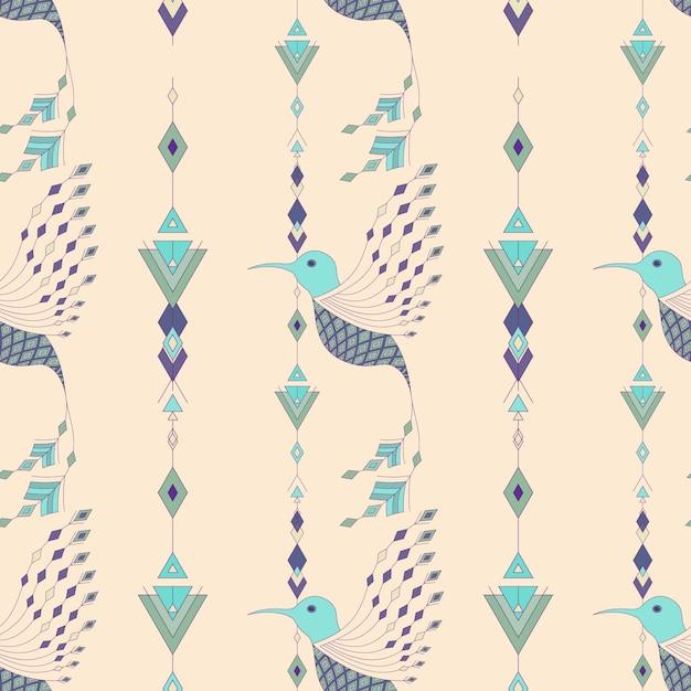 Padrão sem costura de aves aztecas exóticas | Baixar vetores Premium