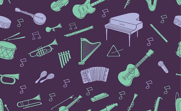 Padrão sem costura do instrumento musical doodle em cor pastel Vetor Premium