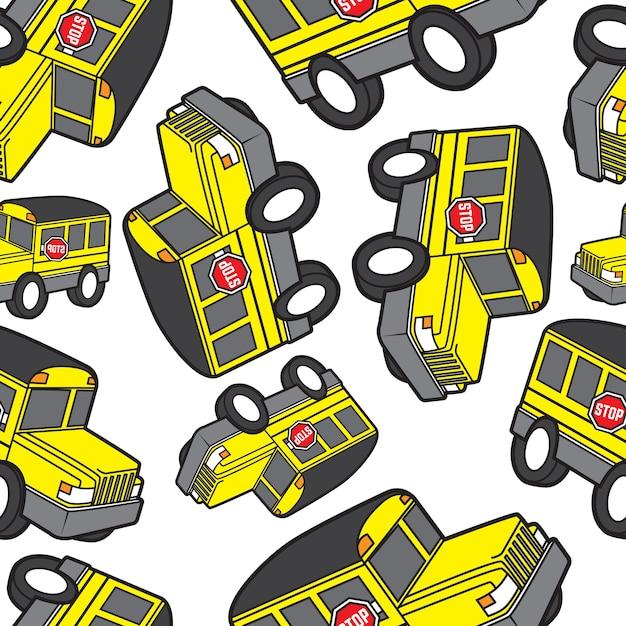 Padrão sem costura do ônibus escolar bonito Vetor Premium