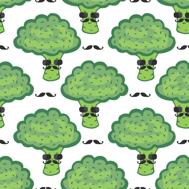 padrão sem costura engraçado dos desenhos animados de brócolis