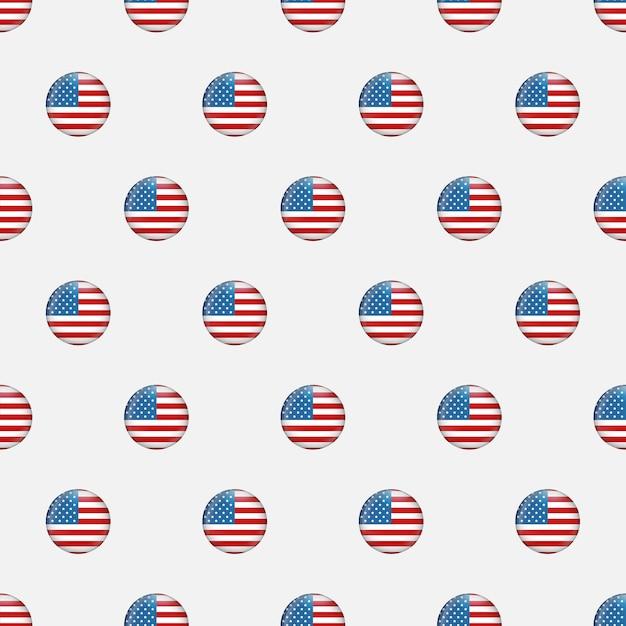 Padrão sem costura estrelas e listras. textura repetida do vetor festivo do dia da independência dos eua baseada na bandeira americana. fundo do memorial day. Vetor Premium