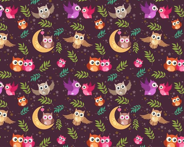 Padrão sem costura padrão de tecido editável padrão completo personalizável crianças embrulho de presente padrão de bebê coruja pássaro amor casal pássaro padrão noite Vetor Premium