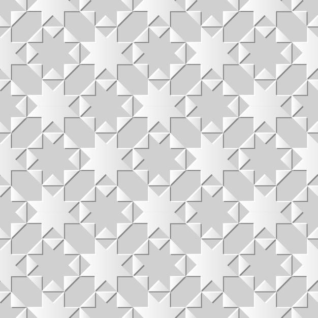 Padrão sem emenda 3d papel branco arte fundo octógono estrela cruzada triângulo geometria Vetor Premium