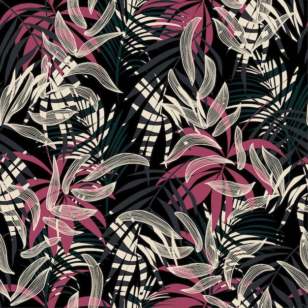 Padrão sem emenda abstrato original com folhas e plantas tropicais coloridas sobre um fundo escuro Vetor Premium