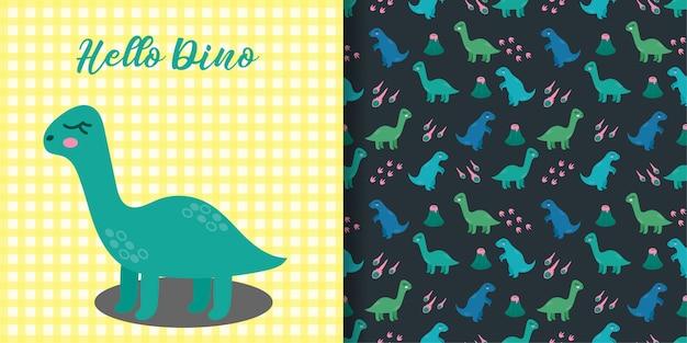 Padrão sem emenda animal bonito dinossauros com cartão de bebê Vetor Premium