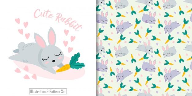 Padrão sem emenda animal coelho bonito com conjunto de cartão de ilustração de mão desenhada Vetor Premium