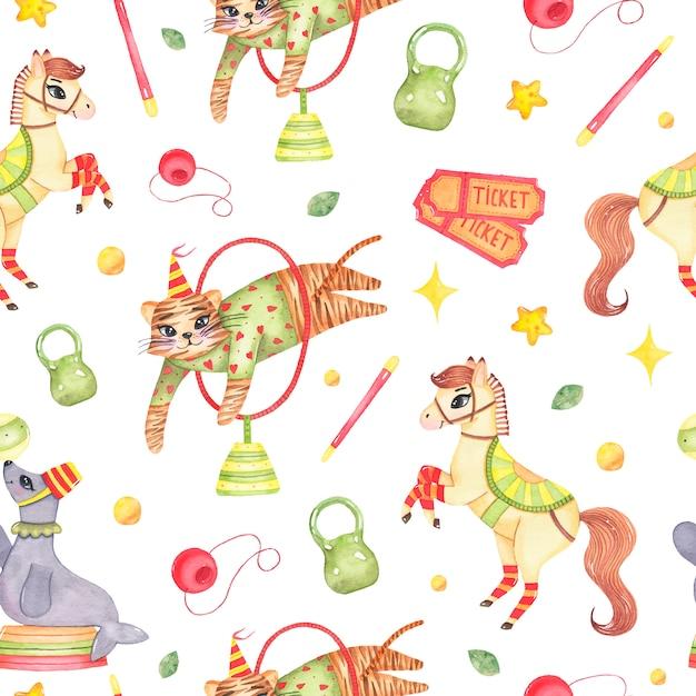 Padrão sem emenda animal de circo aquarela com tigre de cavalo pulando através do círculo Vetor grátis