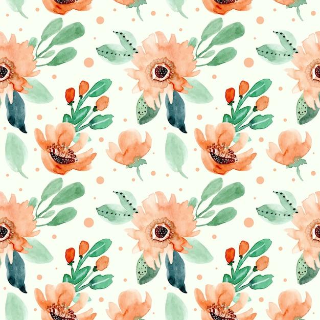 Padrão sem emenda aquarela floral retrô Vetor Premium