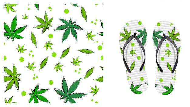 Padrão sem emenda branco com folhas de cannabis. eco padrão pronto para imprimir em estilo cartoon. design de padrão para impressão em chinelos. visualização do design de flip-flops Vetor Premium