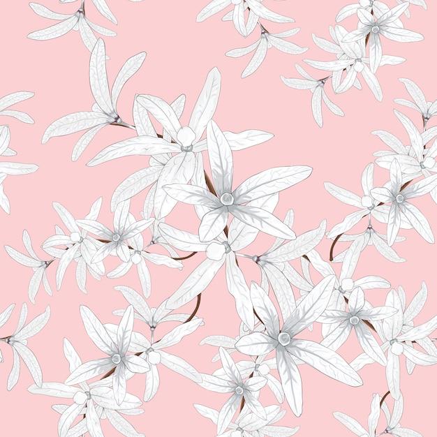 Padrão sem emenda branco petrea volubilis flores Vetor Premium