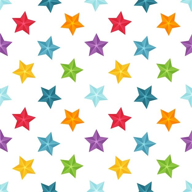 Padrão sem emenda brilhante com estrelas multicoloridas em um fundo branco. Vetor Premium