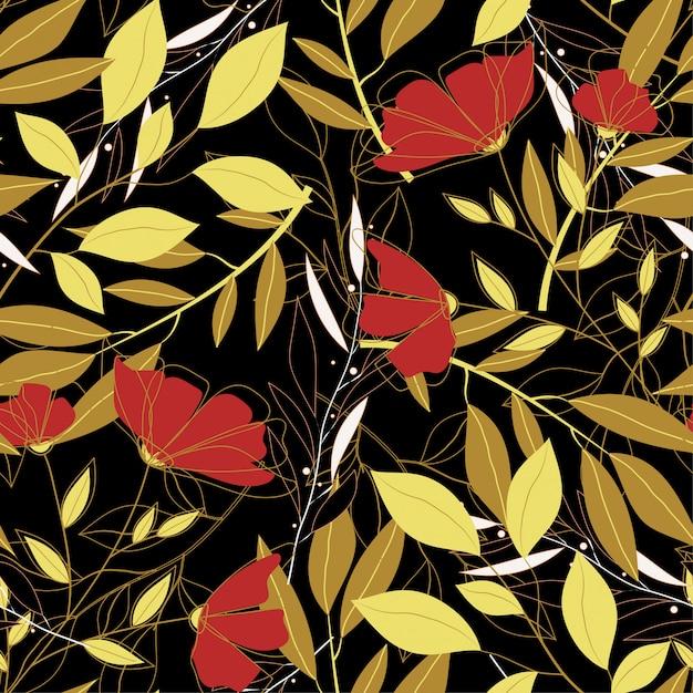 Padrão sem emenda brilhante tropical com folhas coloridas e plantas Vetor Premium