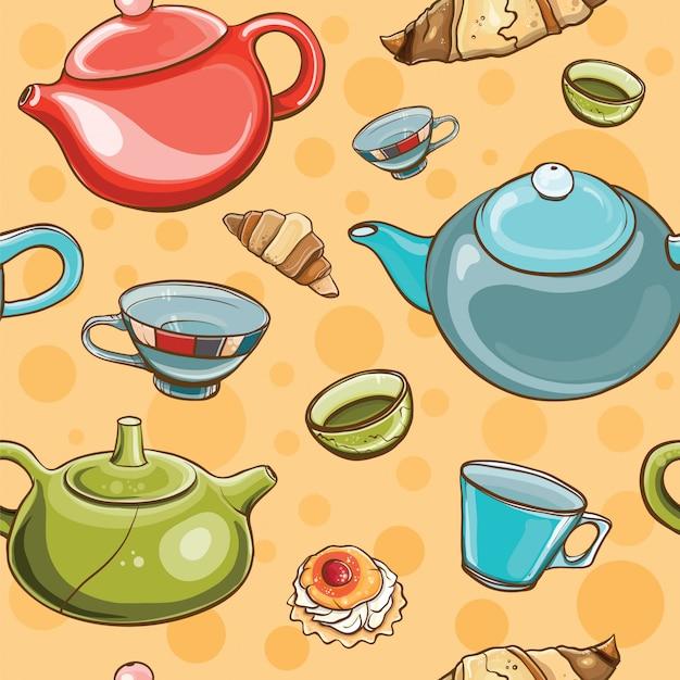 Padrão sem emenda colorido brilhante com jogo de chá. hora do chá. Vetor Premium