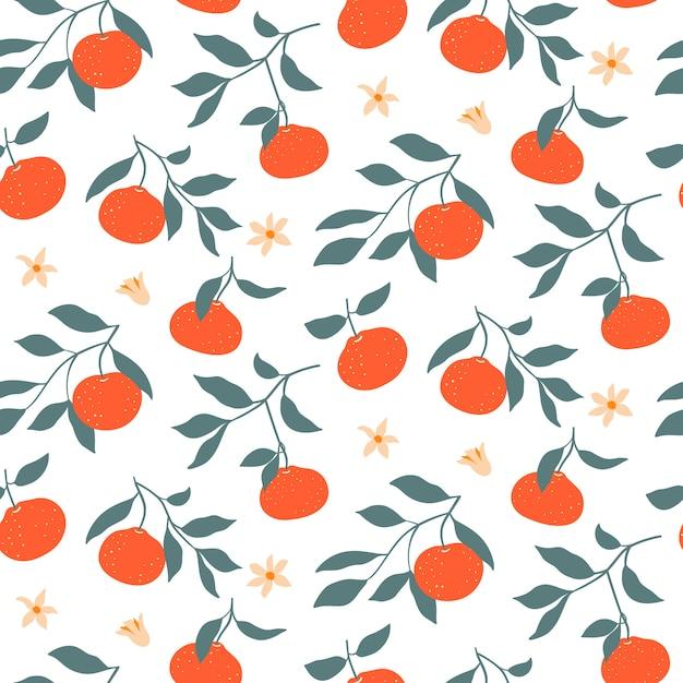 Padrão sem emenda colorido com tangerinas. Vetor Premium