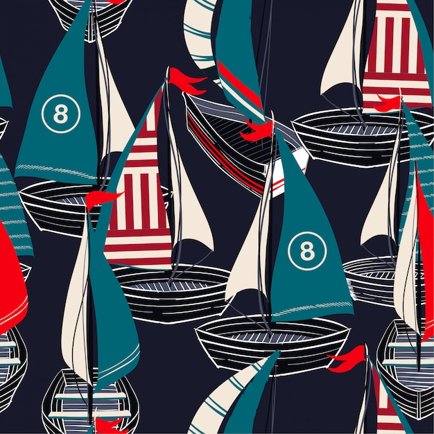 Padrão sem emenda colorido no vetor mão desenhada barco no oceano Vetor Premium