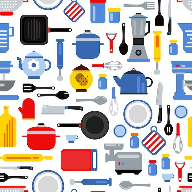 Padrão sem emenda colorido ou ilustração de fundo com utensílios de cozinha estilo simples Vetor Premium