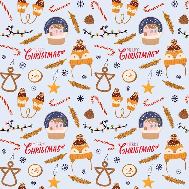 Padrão sem emenda colorido para o natal e ano novo com letras de férias e elementos tradicionais de natal. estilo escandinavo. Vetor Premium
