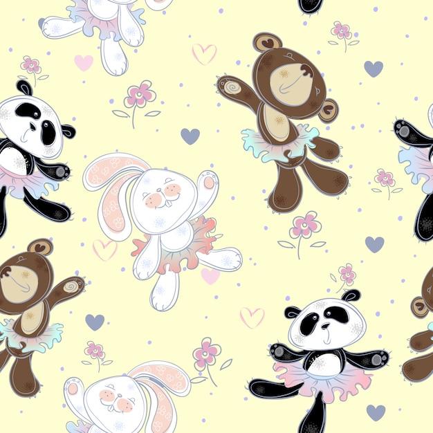 Padrão sem emenda com animais fofos. o coelhinho, o urso e o panda. bailarinas Vetor Premium