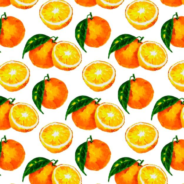 Padrão sem emenda com aquarela cítrica: laranja, limão, toranja Vetor Premium