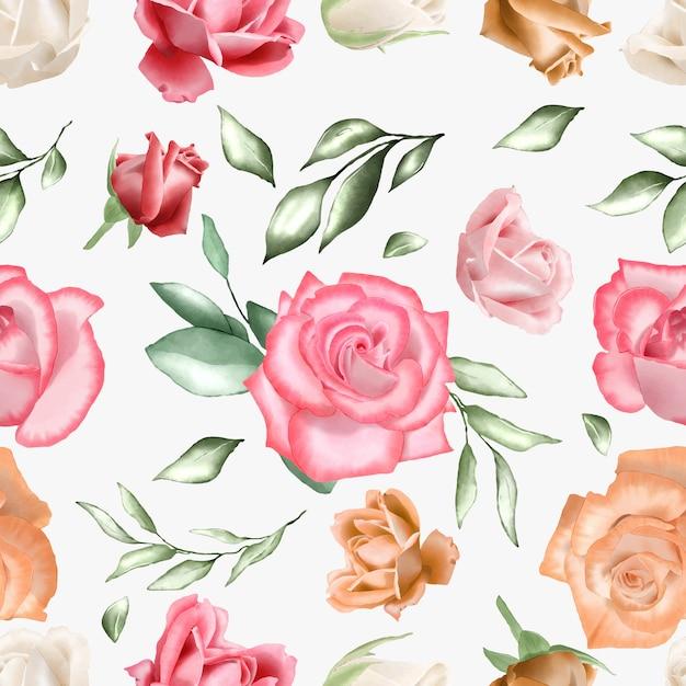 Padrão sem emenda com aquarela floral e folhas Vetor Premium