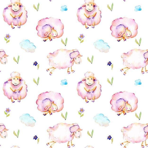 Padrão sem emenda com aquarela rosa ovelhas Vetor Premium