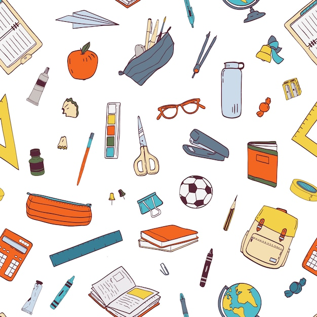 Padrão sem emenda com artigos de papelaria da escola e ferramentas para aprendizagem, estudos, educação. Vetor Premium