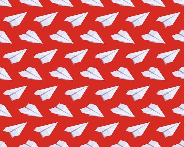 Padrão sem emenda com aviões de papel isométrico Vetor Premium
