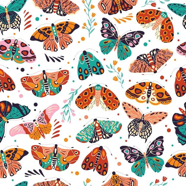 Padrão sem emenda com borboletas e mariposas coloridas mão desenhada. insetos voadores estilizados com flores e elementos decorativos Vetor Premium