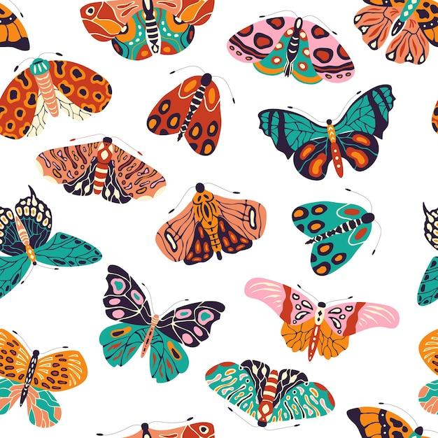 Padrão sem emenda com borboletas e mariposas coloridas mão desenhada. insetos voadores estilizados Vetor Premium