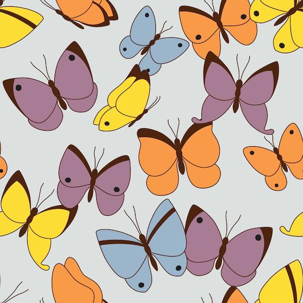 Padrão sem emenda com borboletas Vetor Premium