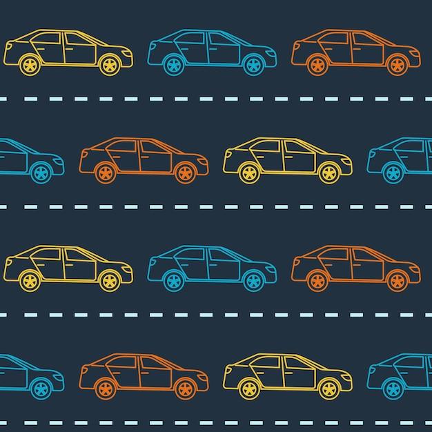 Padrão sem emenda com carros sedan Vetor Premium