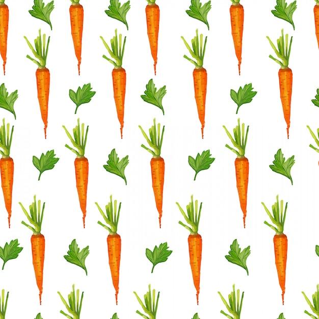 Padrão sem emenda com cenouras e verduras. estilo aquarela. Vetor Premium
