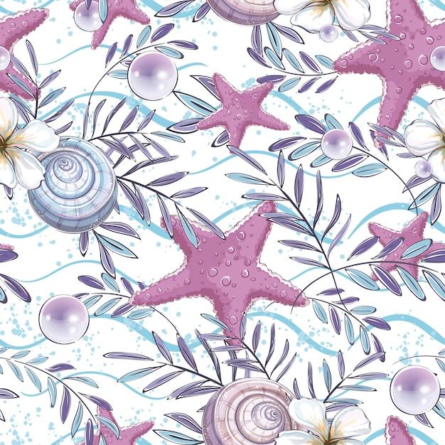 Padrão sem emenda com conchas, estrelas do mar e folhas de uma planta tropical em uma ondas. Vetor Premium