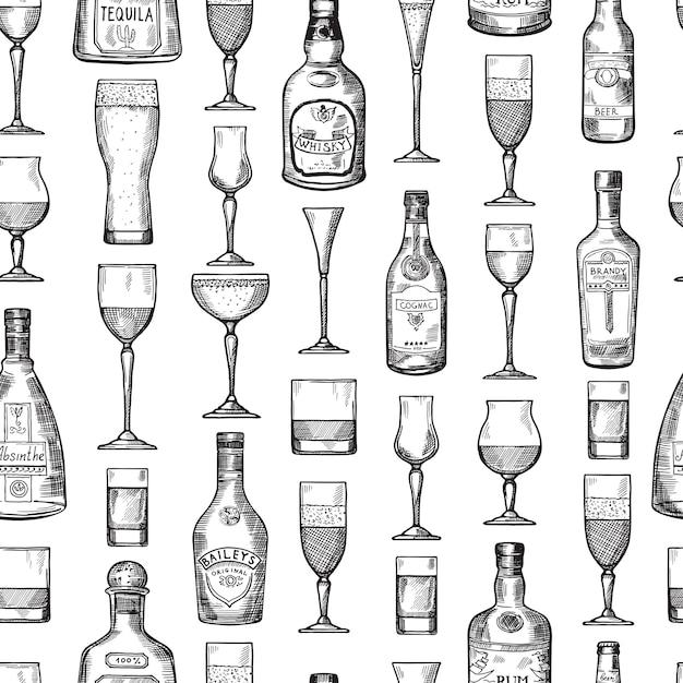 Padrão sem emenda com copos bebendo alcoólicos. ilustração vetorial no estilo desenhado de mão Vetor Premium