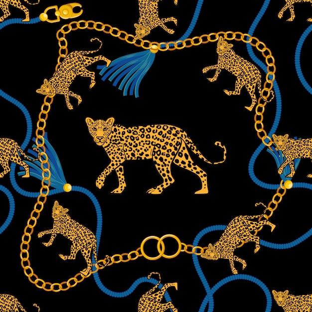 Padrão sem emenda com corda de trança de corrente de ouro e bravo selvagem leopardo tecido design moda impressão t-shirt cartaz têxtil bordado. ilustração de estilo retrô vintage de beleza rica. design gráfico na moda. Vetor Premium