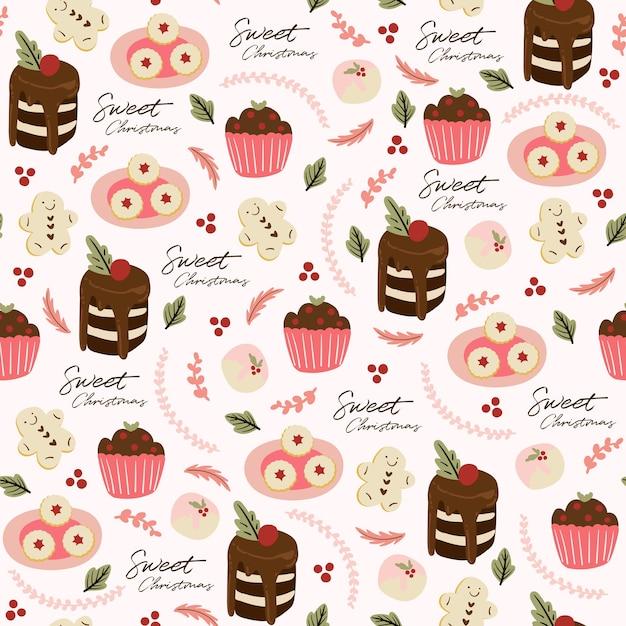 Padrão sem emenda com cupcake, bolo, folhas e sobremesa Vetor grátis