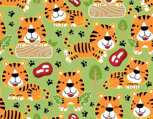 Padrão sem emenda com desenho de tigres legal Vetor Premium