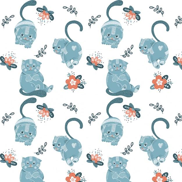 Padrão sem emenda com desenhos animados azuis gatos e flores Vetor Premium