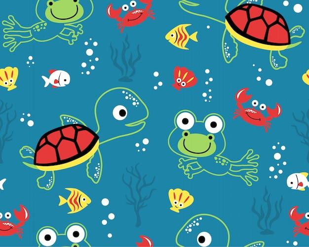 Padrão sem emenda com desenhos animados de animais marinhos Vetor Premium