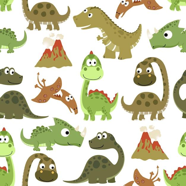 Padrão sem emenda com desenhos animados engraçados dos dinossauros Vetor Premium