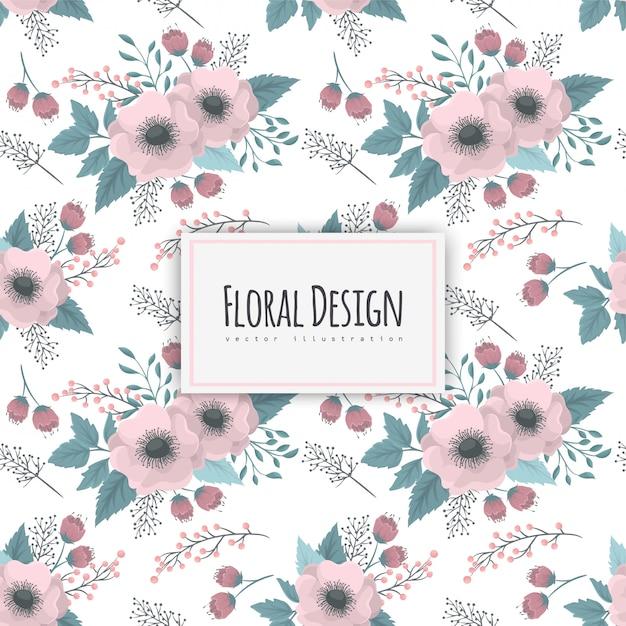 Padrão sem emenda com design floral Vetor grátis