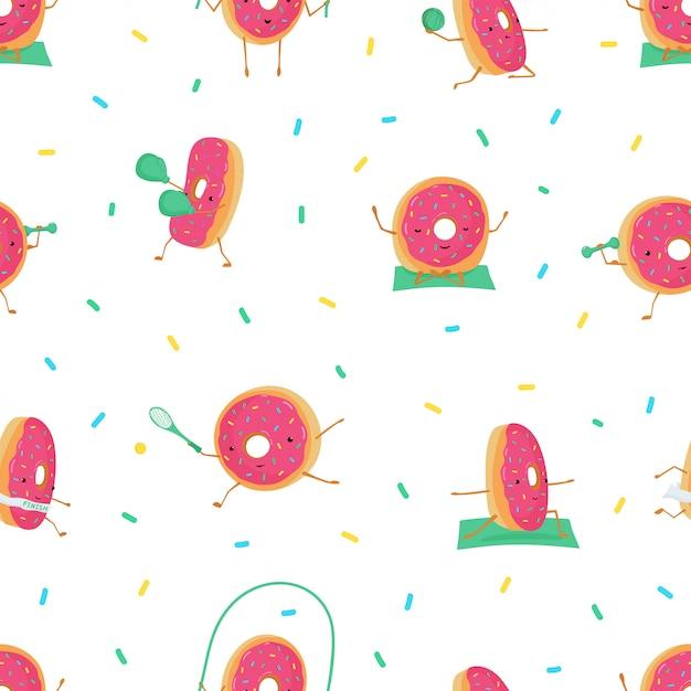 Padrão sem emenda com donuts bonitos engraçadas nos esportes. Vetor Premium