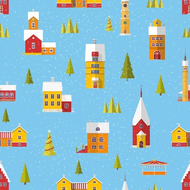 Padrão sem emenda com edifícios bonitos e árvores decoradas para a celebração do natal ou ano novo na queda de neve Vetor Premium